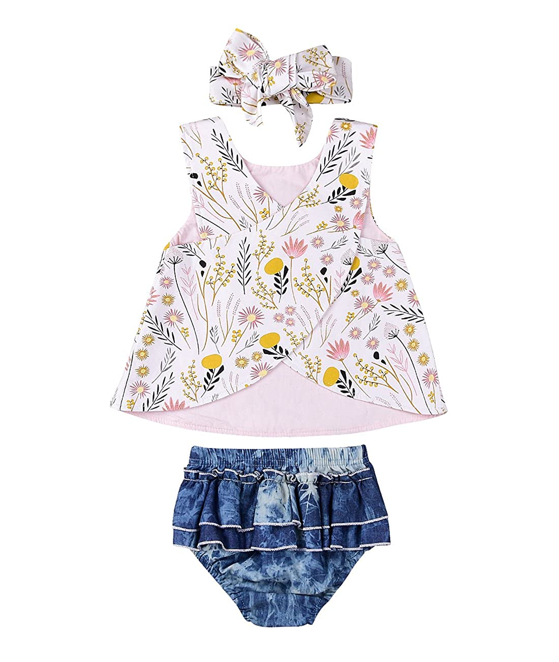 196e5bf2d967 Miward Infant Baby Girl Outfit Wildflowers Cross Vest Ruffled Leaf Short  Pants With Headband Clothing (Tag: 90/12-18 Months, White): Amazon.in:  Clothing & ...