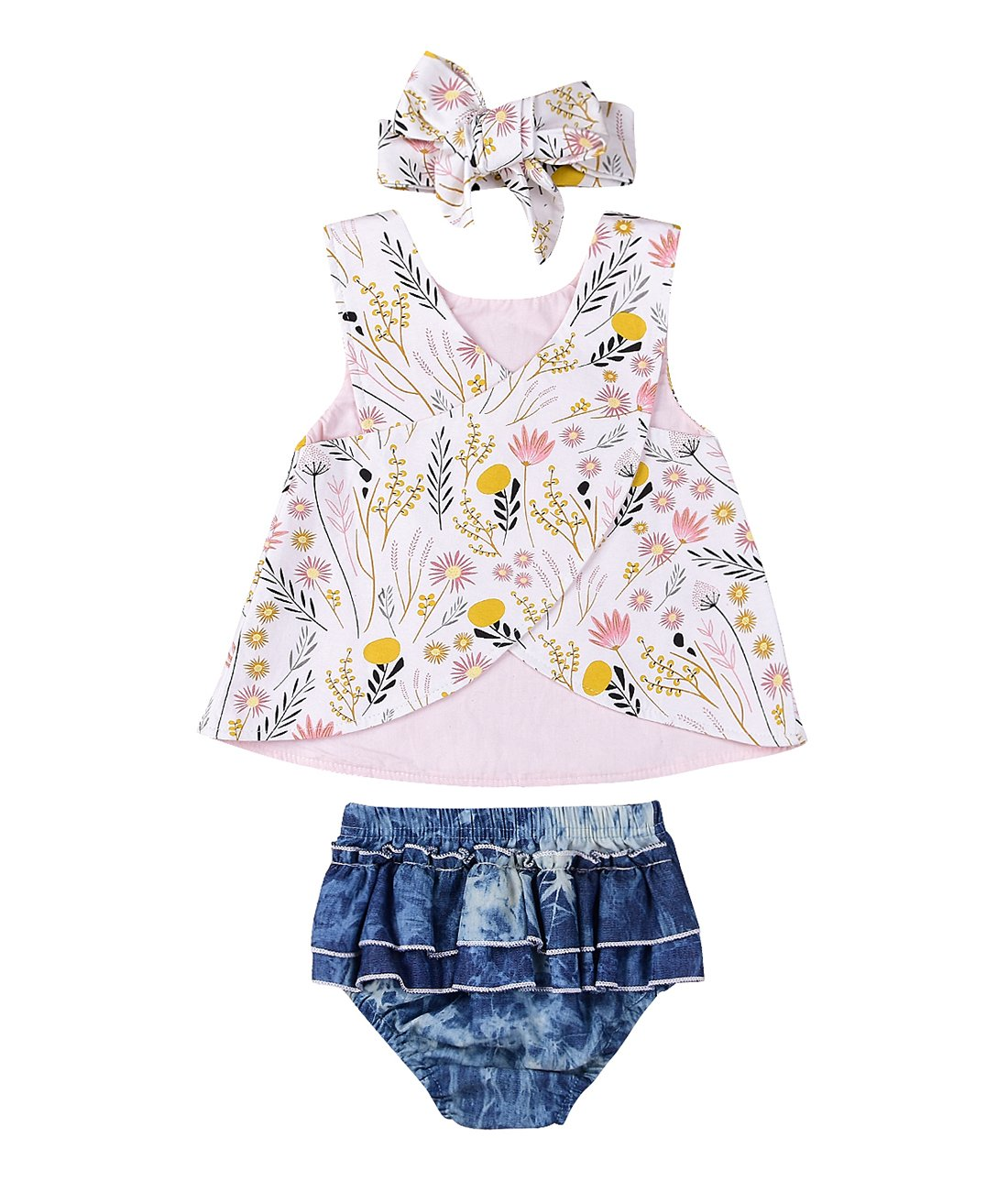 Infant Baby Girl Outfit Wildflowers Cross Vest Ruffled Leaf Short Pants With Headband Clothing (Tag: 80/6-12 Months, White)