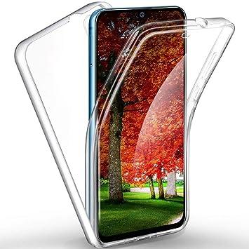 XCYYOO Funda para Samsung Galaxy A20 Silicona,Carcasas[Carcasa Protectora 360 Grados Full Body] Transparente Suave Ultrafina Gel Silicona TPU+PC ...