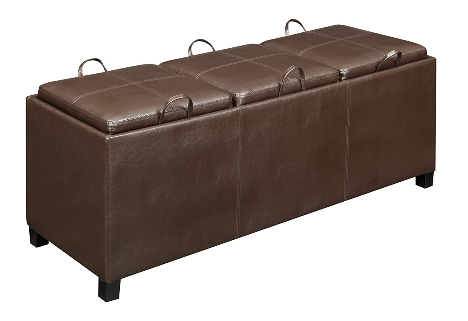 Amazon.com: Convenience Concepts Designs4Comfort Tribeca Ottoman With 3  Tray Tops, Espresso Faux Leather: Kitchen U0026 Dining