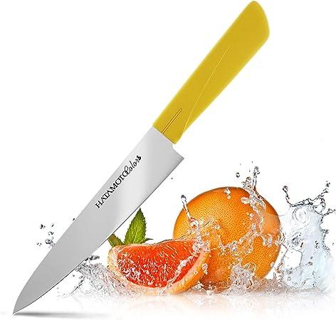 Cuchillo Japones - Cuchillos de Cocina Profesionales - Acero Inoxidable - Cuchillo Multiuso para Carne Pescado y Verduras - Cuchillo Cebollero Profesional - Plastico Color - de Japon, Multiuso 15 cm: Amazon.es: Hogar