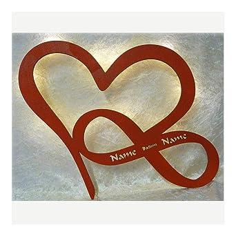 Schlummerlicht24 Led Herz Liebe Mit Namen Und Datum Zur Verlobung