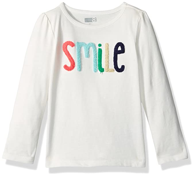 e207f35cd0d2 Amazon.com: Crazy 8 Baby Girls' Toddler Long-Sleeve Smile Tee, Jet Ivory,  6-12: Clothing