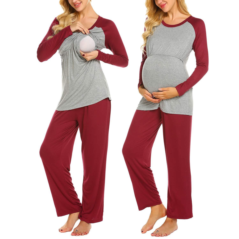 Ekouaer Women's Maternity Top Ruched Nursing Breastfeeding Long Sleeve PJ Set (Wine Red M)