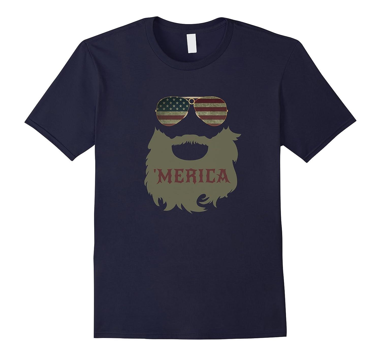 'Merica Patriotic Beard Sunglasses Flag T-shirt-ANZ