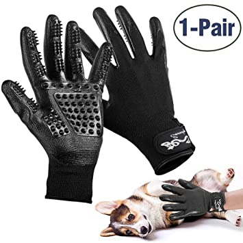 Gentle Deshedding Brush Gloves with Adjustable Wrist Strap Cats /& House Pet Grooming Glove Enhanced Five Finger Design,Pet Hair Remover /& Bathing Massage Tool for Dogs