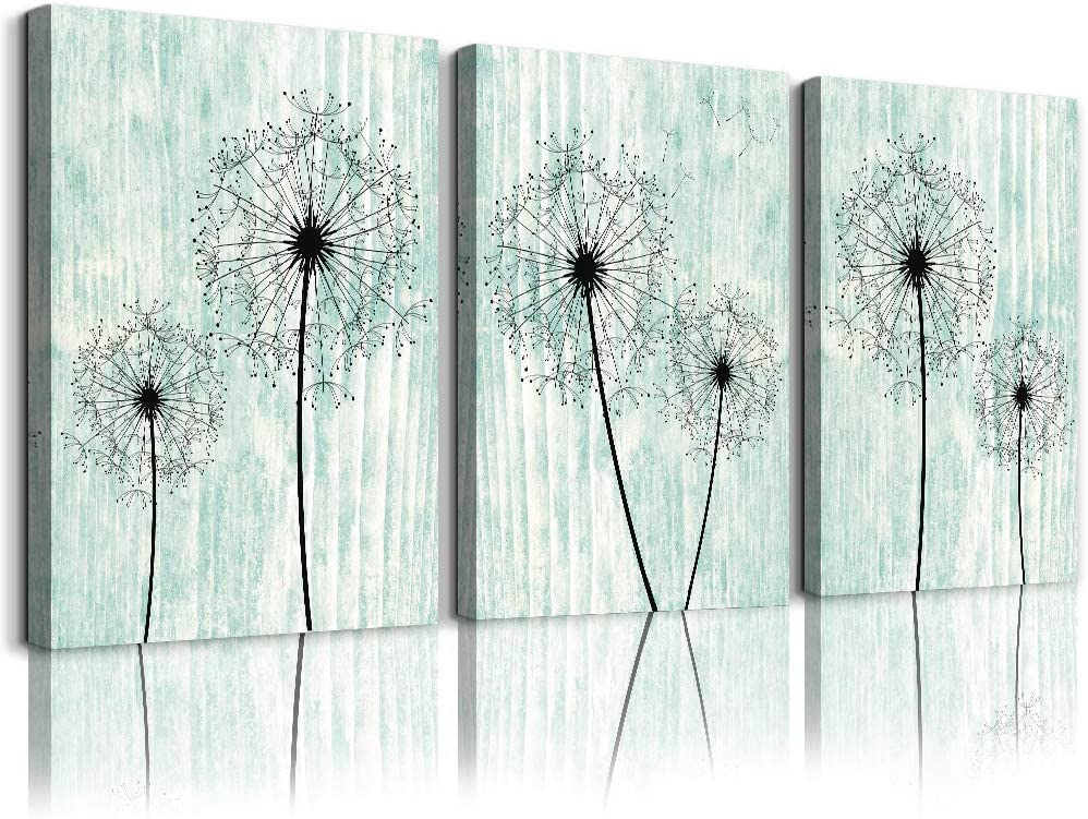 light green background Dandelion Canvas Wall Art Paintings for Living Room Canvas Print Wall Artworks Bedroom Decoration, 3 piece Framed office kitchen bathroom Wall decor posters Home Decorations