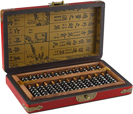 11 Column Vintage Chinese Wooden Bead Arithmetic Abacus Counting Toy