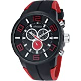 Anleowatch 1pcs Red Watch Waterproof Men Women Unisex Sport Watch Rubber Strap Steel Fashion Quartz