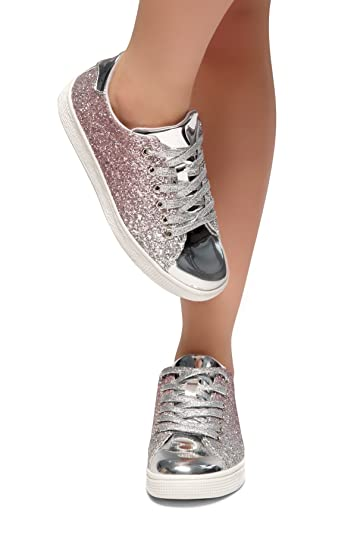 b7656fbded54 Herstyle Women's Down for You- Flat Heel, Glitter Sneaker with lace Upper  Silver 9