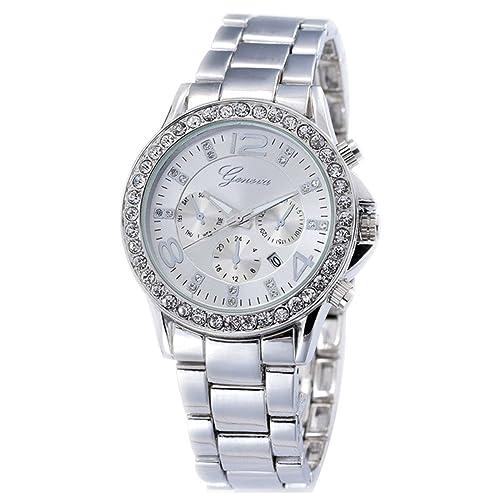 XLORDX Geneva Designer Datum Strass Damenuhr Silber Uhr Chronograph Optik Silber Strassuhr