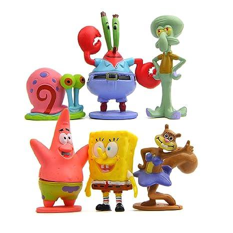 Colección de 6 personajes Bob Esponja Calamardo Patricio Señor Cangrejo Arenita y Gari Spongebob 6 figuras
