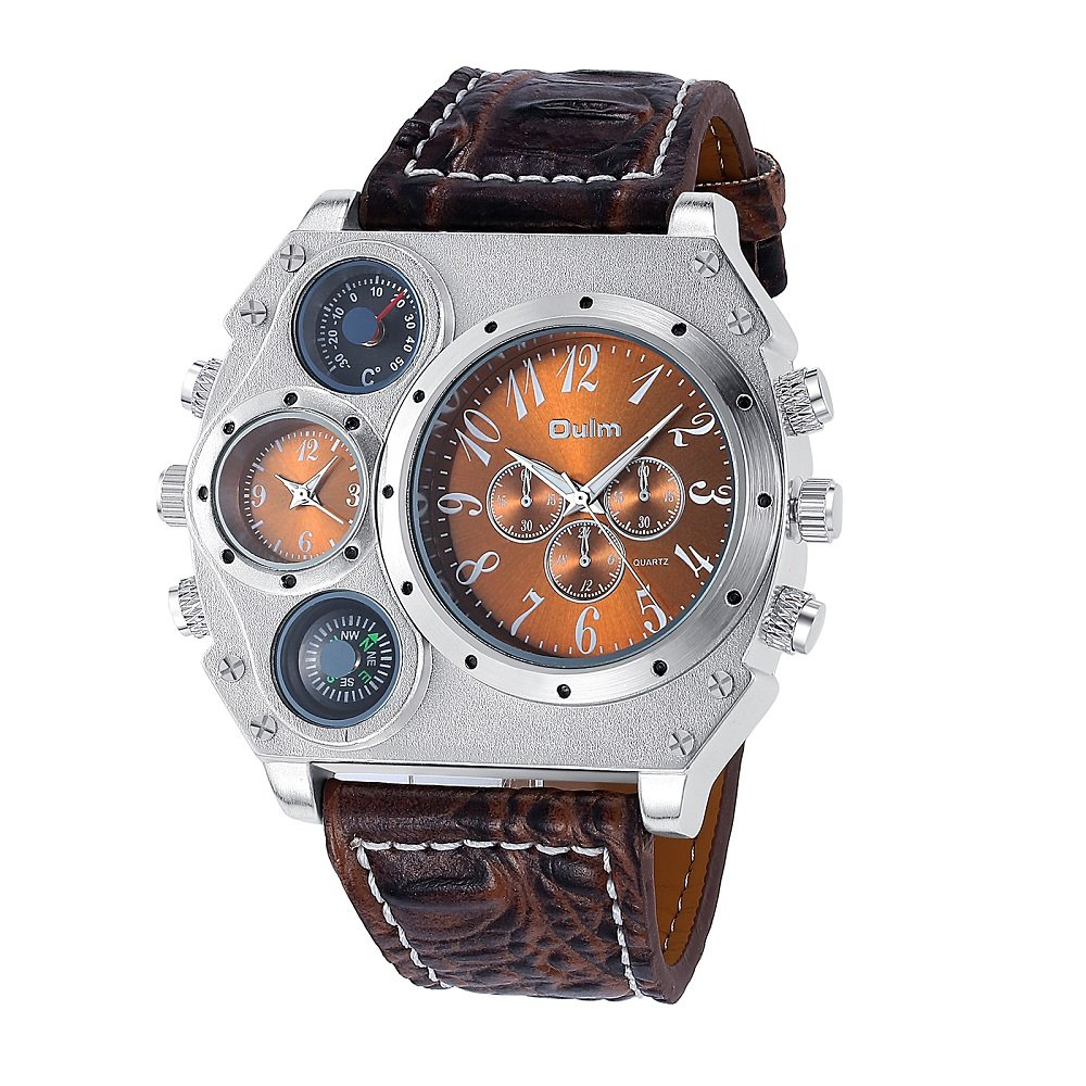 5ebba30cb Amazon.com: Navion Oulm Mens Analog Dark Brown Leather Strap Four Sub-dials  Watch: Watches