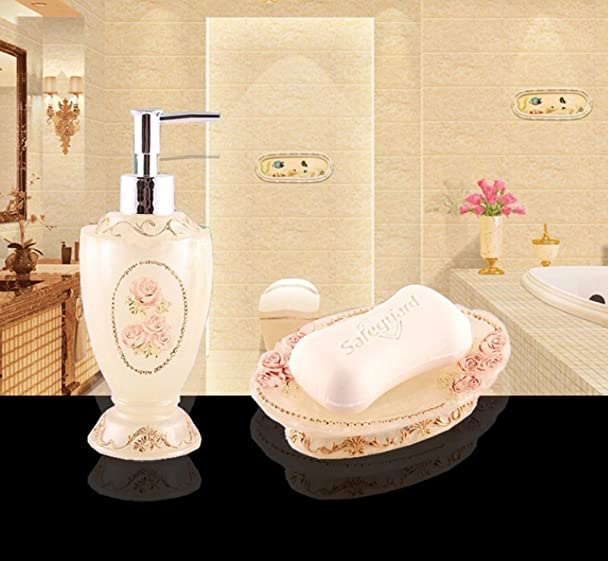 Amazon.com: HONGS Luxury Royal Bathroom Accessories Set Bath Shampoo Dispenser Soap Dish Holder Toothbrush Holder Rack 5pcs set: Home & Kitchen