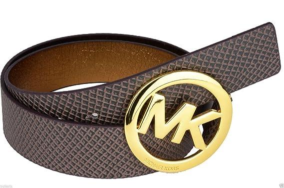 9fac3643d82c4 australia michael kors brown faux snake leather belt with gold tone logo  buckle large 2501e f6d8a