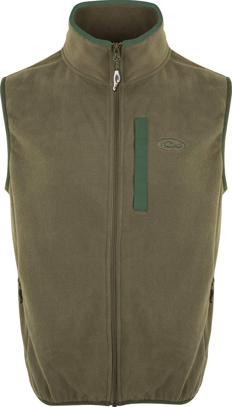 Drake Youth Camp Fleece Vest Olive/Dark Green 10 by Drake