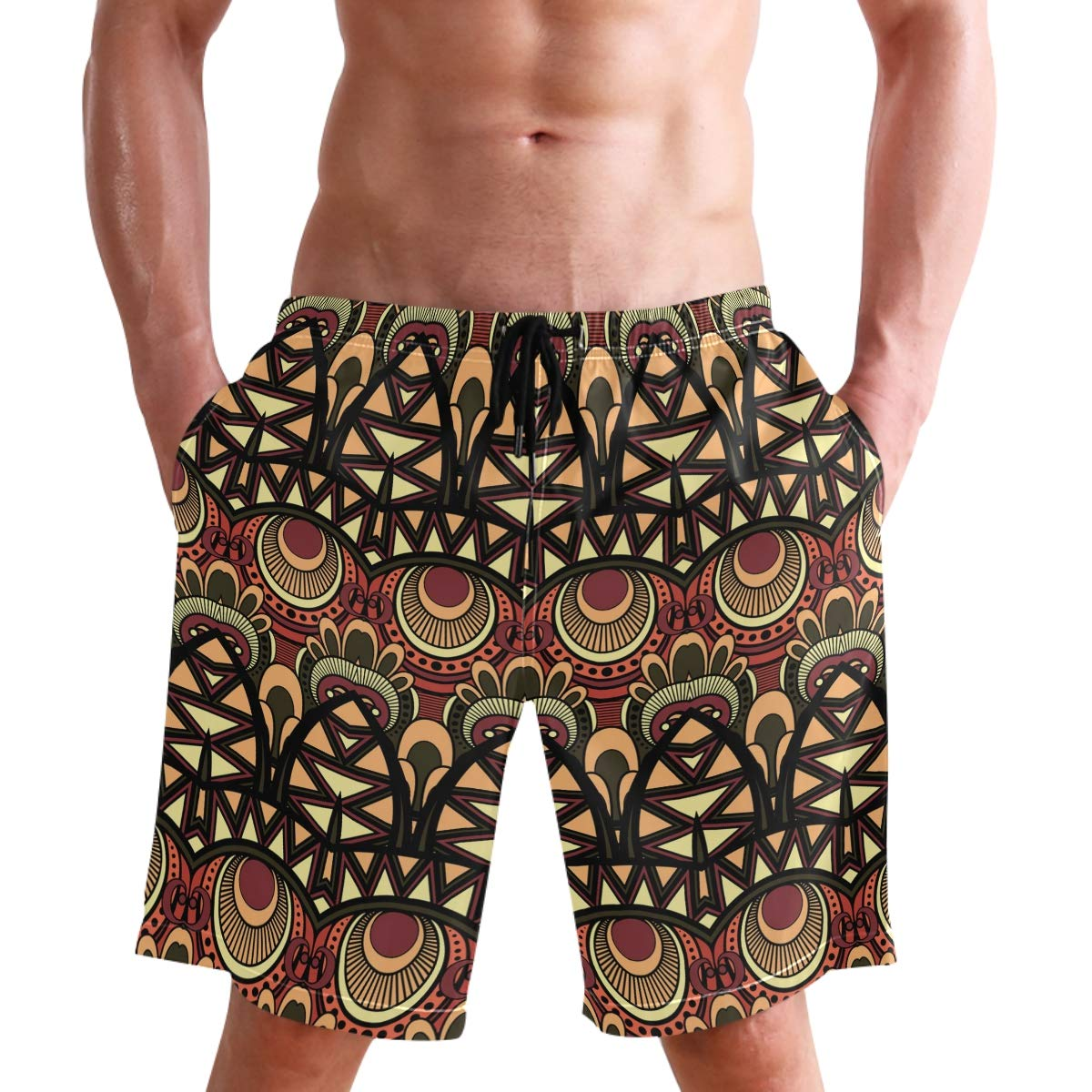 WIHVE Mens Swim Trunks Abstract Tribal Ethnic Pattern Beach Board Shorts with Lining