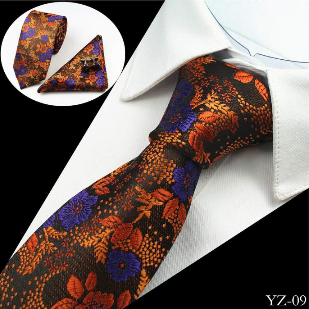 LDSHAN Floral Tie Silk Jacquard Tie Cufflinks Lace Mens Formal Wedding Party