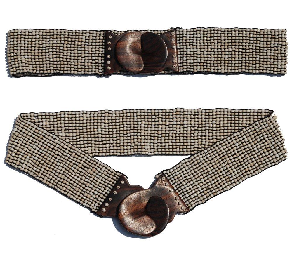 "Antique Bone White Hand-made Elastic Stretchy Beaded Bali Belt w/ Wooden Hook Buckle – 2 1/4"" Wide Belt"