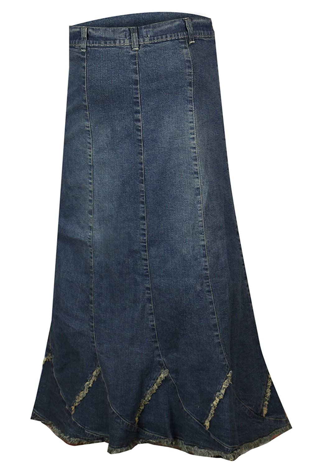Clove Ankel Lenght Long Frayed Hem Blue Stretch Denim A Line Skirt Plus Size 14 16 18 20 22 24