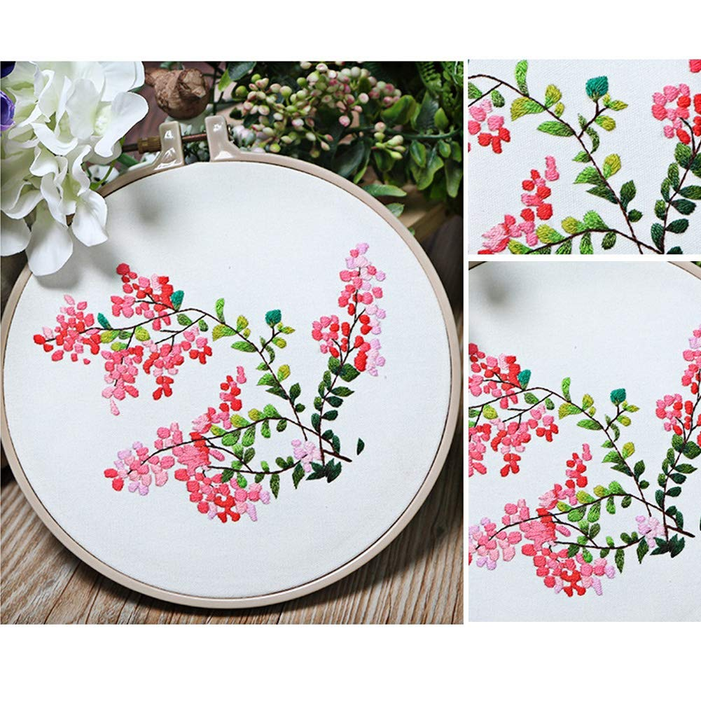 Creative Flower Hand Embroidery Cross Stitch Starter Needlepoint Crafts Kit with Color Pattern Cloth Embroidery Hoop Peach Embroidery Kit Color Threads and Tools Kit for Home Decor