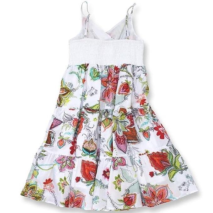 uk availability e44e1 b97bf paglie ESTIVO LUNGO ragazze vestito con fiori bianco: Amazon ...
