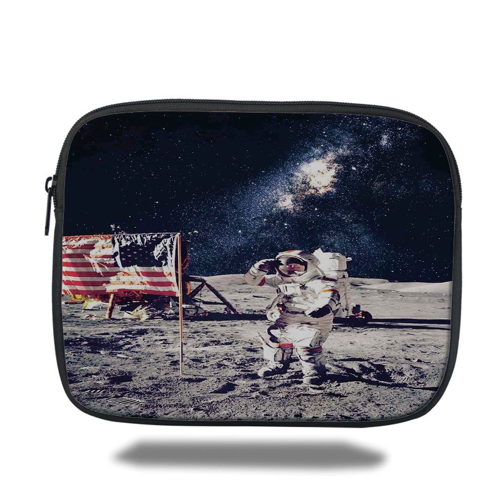 Laptop Sleeve Case,Outer Space Decor,American Spaceman on Moon Future Solar Discovery in Deep Technology View,Blue Grey,iPad Bag
