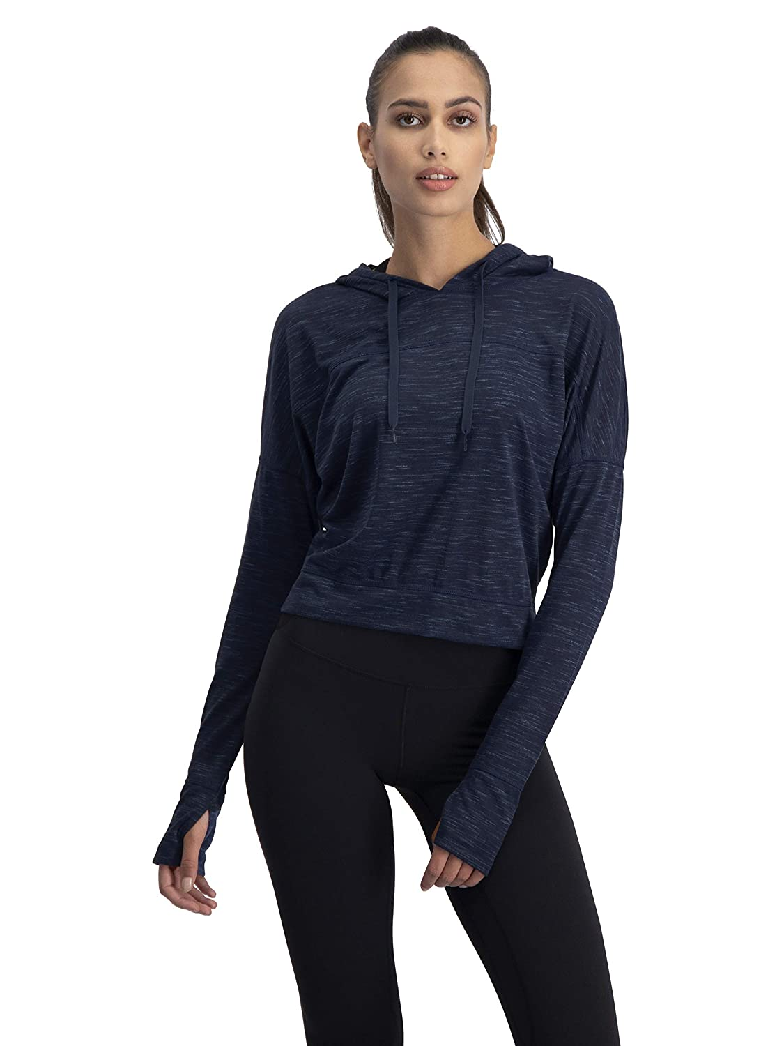 8e2e04765c9bb Dry Fit Crop Tops for Women - Long Sleeve Crop Top Hoodie - Women's Workout  Pullover Top with Thumb Holes