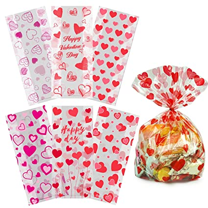 Amazon Com Valentine Cellophane Bags 115 Pack With Twist Ties