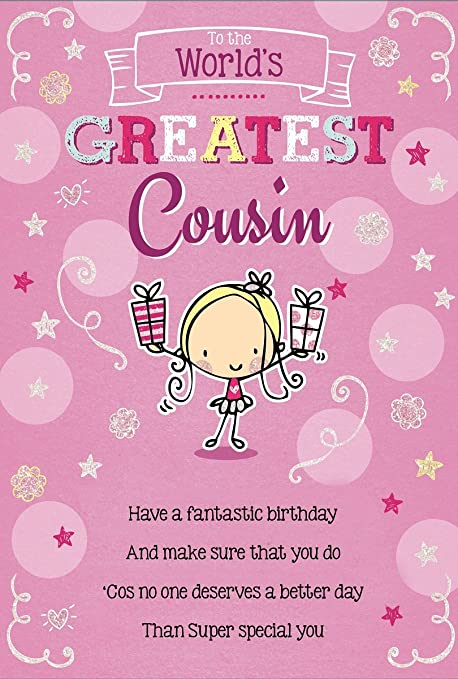 Cousin Birthday Card Little Girl Holding Presents Spots Stars