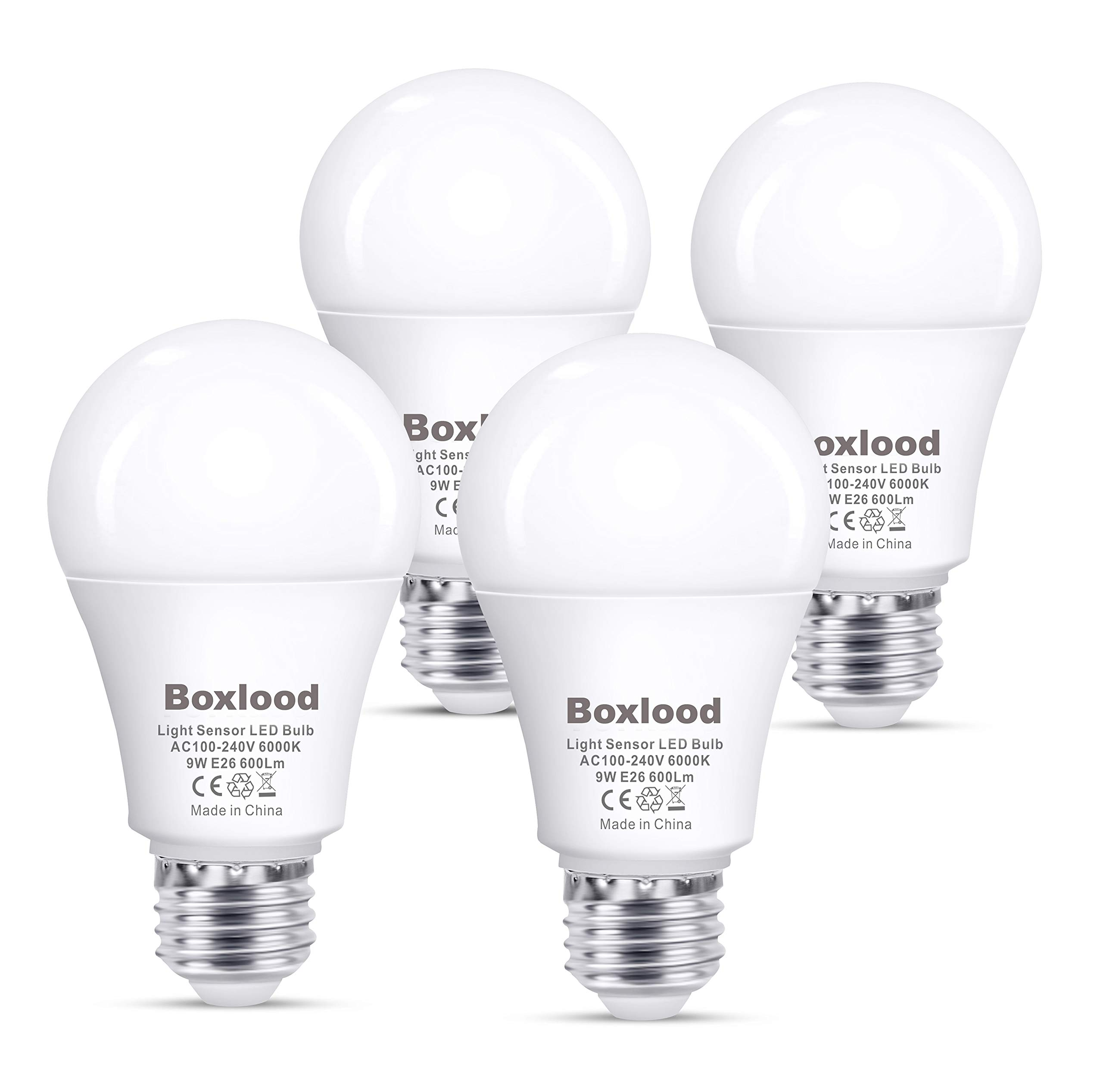 Dusk to Dawn Light Bulbs, E26, 60W Equivalent, AC100-240V, 6000K Cool White Auto On/Off Indoor/Outdoor Sensor LED Bulb by Boxlood (4 Pack) Price: $21.22