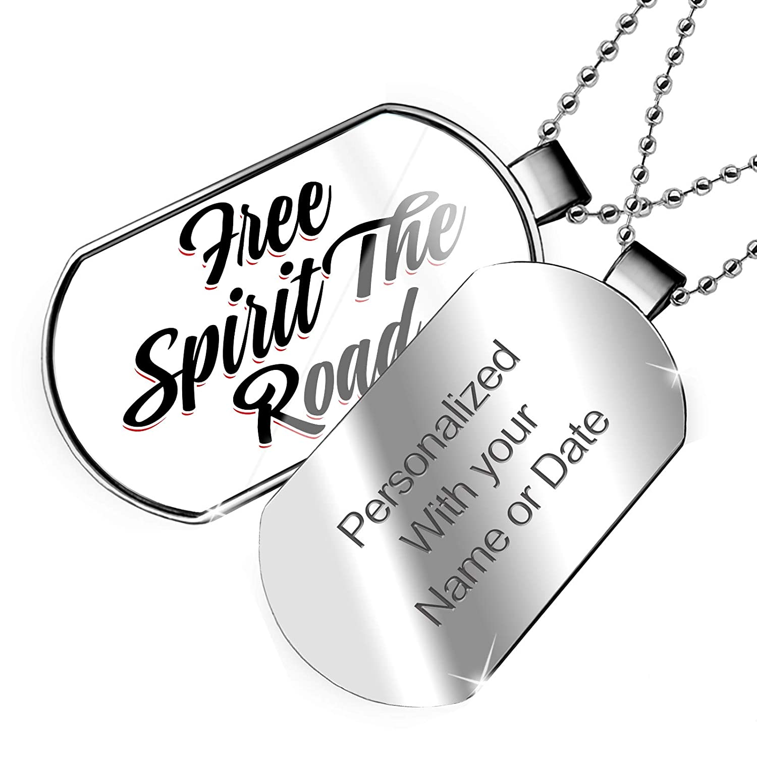 NEONBLOND Personalized Name Engraved Vintage Lettering Free Spirit The Road Dogtag Necklace