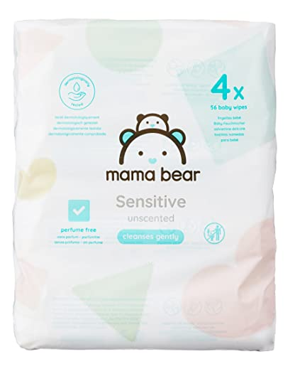 Mama Bear Sensitive Toallitas Húmedas para Bebé - 4 Paquetes (224 Toallitas)