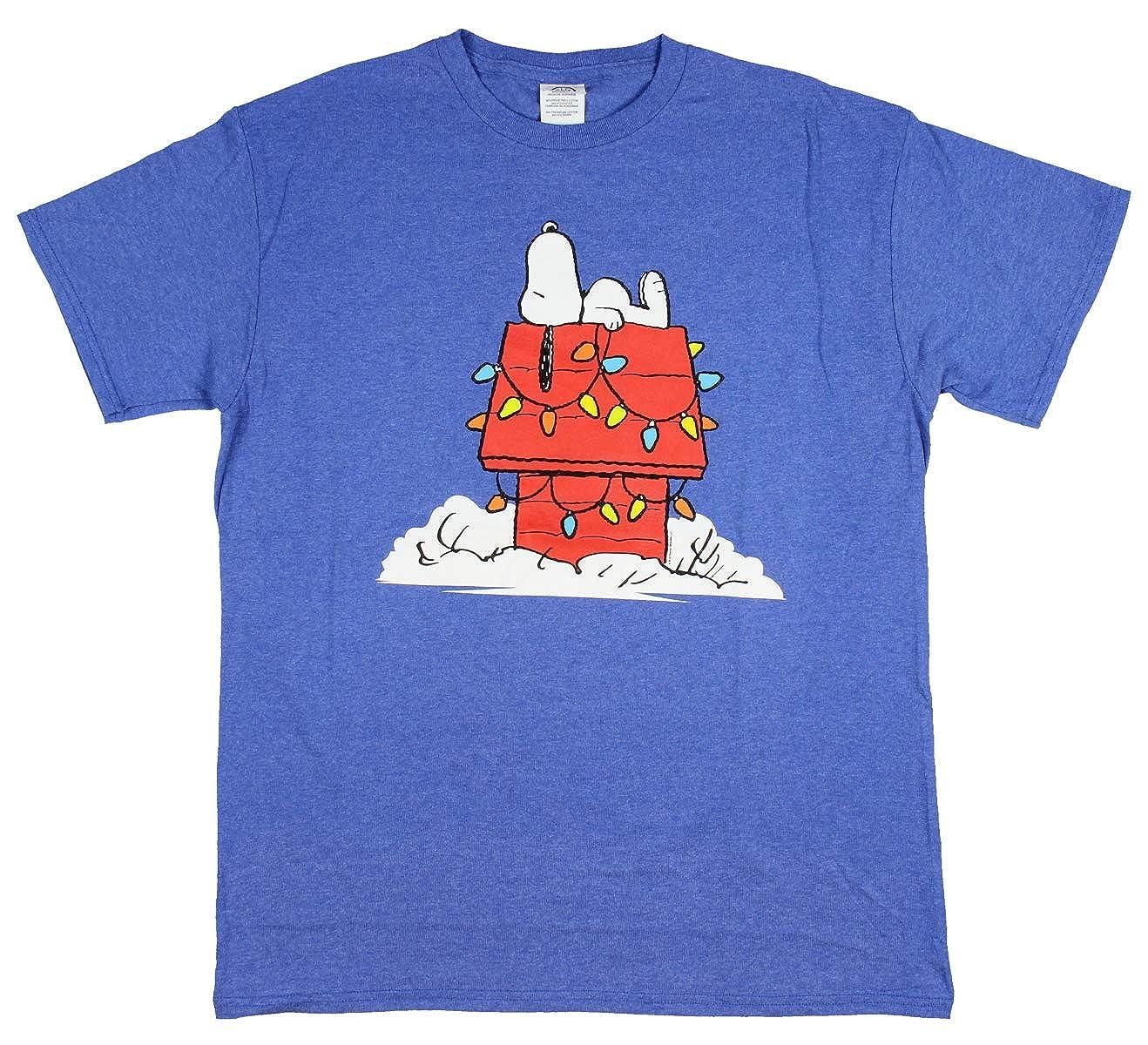 Peanuts Snoopy Shirt Christmas Lights On Doghouse Adult S Tshirt
