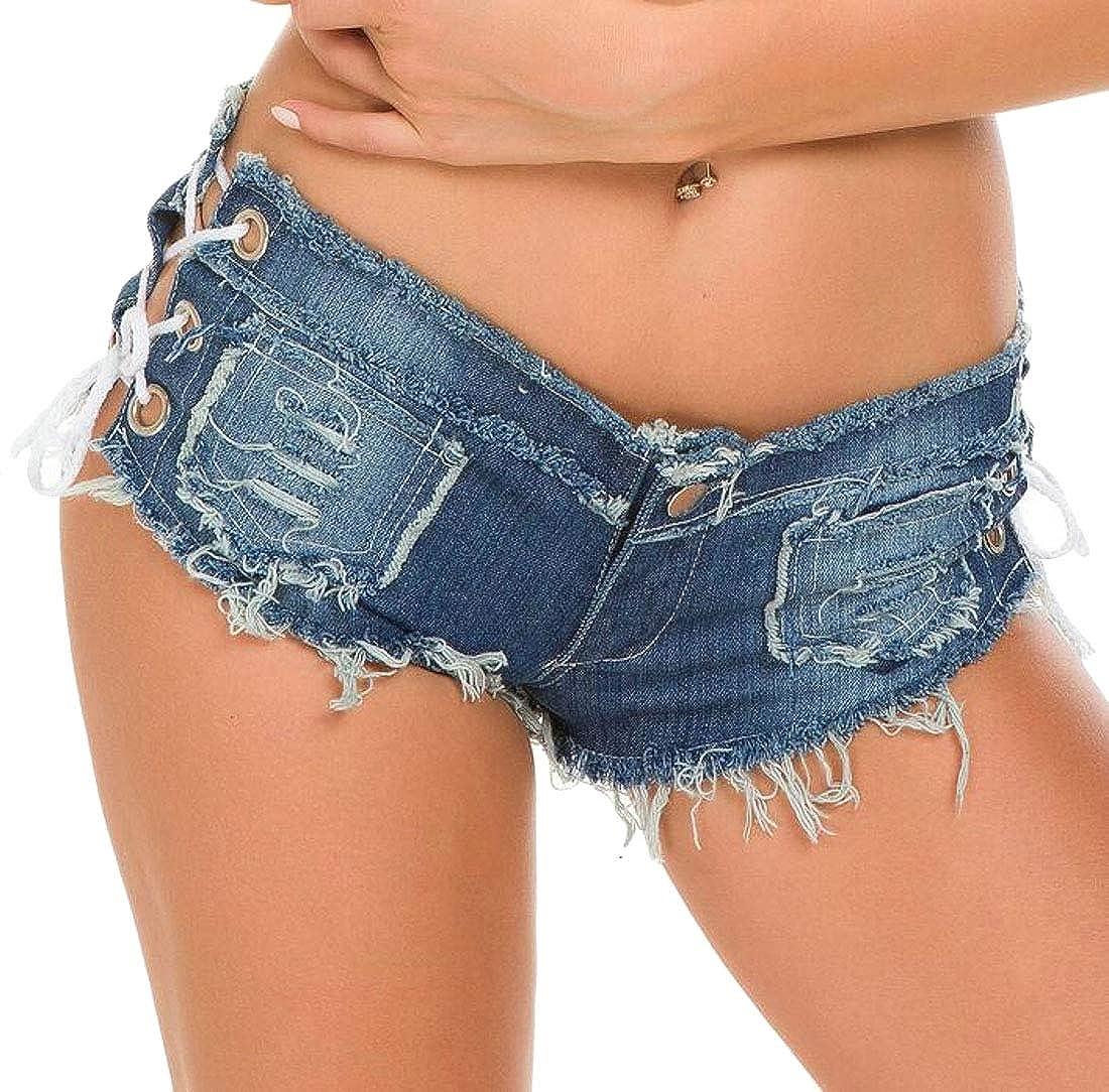 WAWAYA Womens Cutoff Low Rise Club Beach Booty Micro Mini Thong Denim Shorts Jeans Shorts
