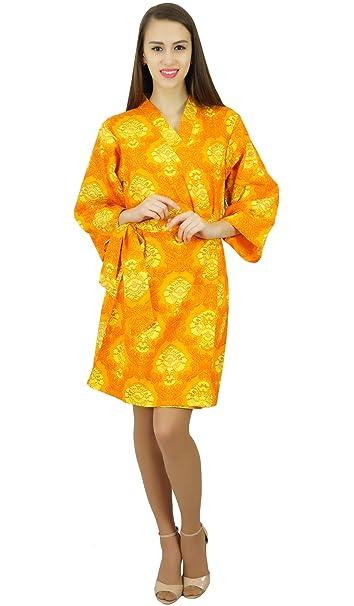 Amoghah Corta De Algodón Traje Del Kimono Amarillo De La Dama De Honor Conseguir Reday Encubrimiento Batas: Amazon.es: Ropa y accesorios