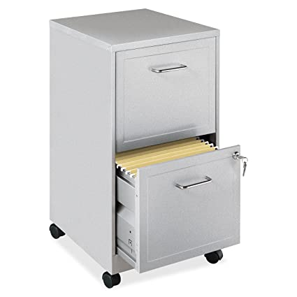 Lorell 16873 2 Drawer Mobile File Cabinet, 18 Inch Depth   Gray