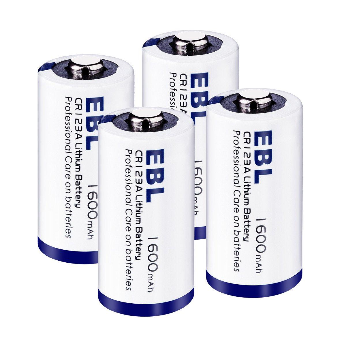 EBL CR123A 1600mAh Metal de Litio Batería CR123A 3V - para Linterna Cámara Digital Videocámara Juguetes Antorcha - 4 Unidades