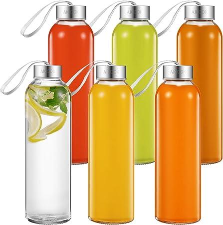 Aicook Botella de Agua de Cristal de 500ml, Paquete de 6, Botella ...