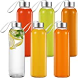 Aicook Glass Water Bottles, 6 Pack, 18Oz Glass Bottle for Juice, Beverage, Smoothie Stainless Steel Leak Proof Easy Caps with Carrying Loop, Reusable Drinking Bottle, Sauce Jar, Juice Beverage Contain