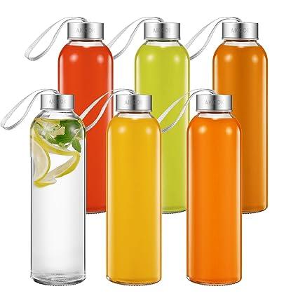 Aicook Botella de Agua de Cristal de 500ml, Paquete de 6, Botella de Vidrio para Jugo, Tapas Sencillas de Acero Inoxidable con Lazo de Transporte, ...