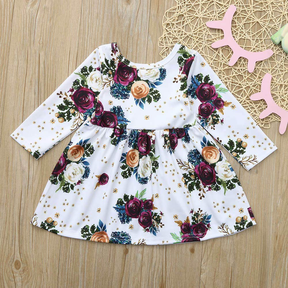 GorNorriss Baby Dress Toddler Girls Long Sleeve Floral Printing Dress Outfit Dresses