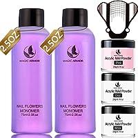 MAGIC ARMOR Acrylic Liquid Monomer and Acrylic Powder Set - 3 Colors Acrylic Powder Clear Pink White Professional…