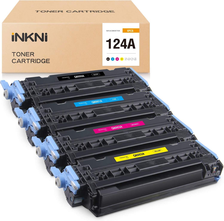 INKNI Remanufactured Toner Cartridge Replacement for HP 124A Q6000A Q6001A Q6002A Q6003A Color Laserjet 2600n 1600 2605 2605dn 2605dnt 1015 1017 (Black, Cyan, Yellow, Magenta, 4-Pack)