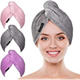 Microfiber Hair Towel Wrap POPCHOSE 3 Pack Ultra Absorbent, Fast Drying Hair Turban Soft, Anti Frizz Hair Wrap Towels…