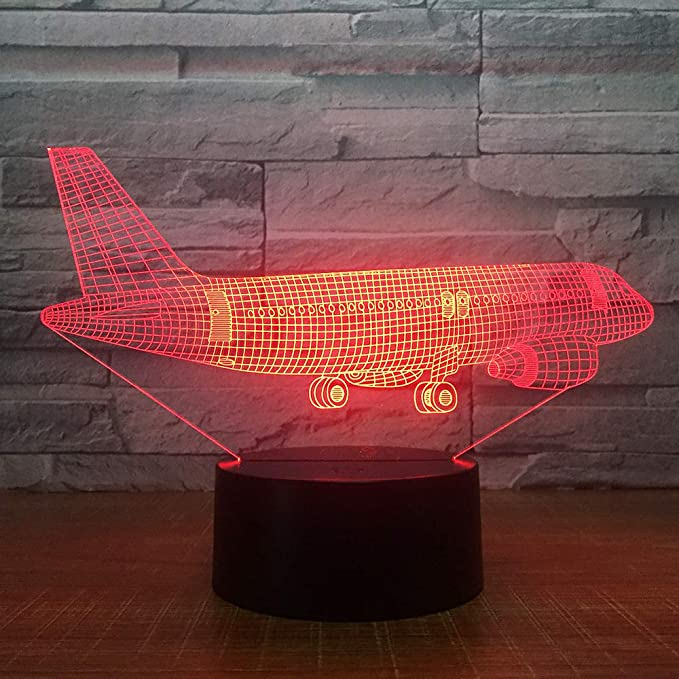 BFMBCHDJ Big Air Plane 3D Light Lámpara de mesa Ilusión óptica Night Light 7 USB Dormitorio Decoración Regalo Colores Cambio de humor Lámpara: Amazon.es: Iluminación