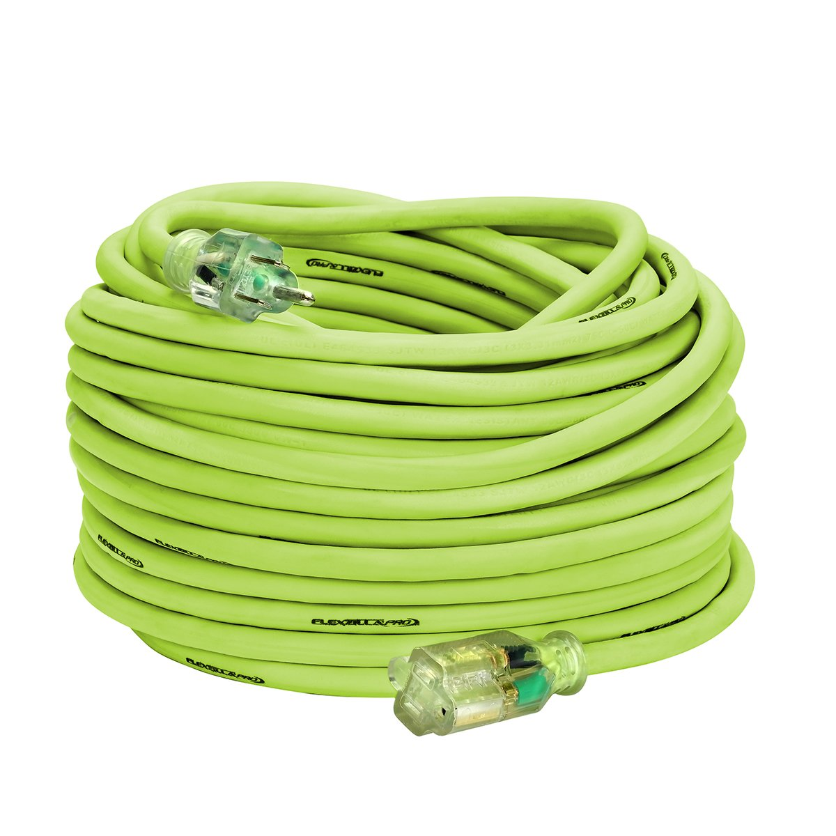Flexzilla Pro Extension Cord, 12/3 AWG SJTW, 100 ft, Lighted Plug, Indoor/Outdoor, ZillaGreen - 721-123100FZL5F