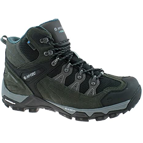 Mens HI-TEC Strike Hike I WP Mid Gull Grey/Black/Goblin Waterproof