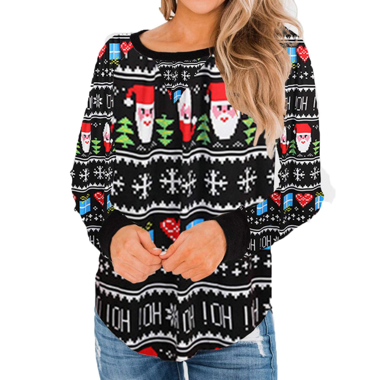Elegant Women's Christmas Printed Sweater Autumn Ladies Causal O-Neck Long Sleeve Pullover Sweaters Tops Sudadera Mujer New