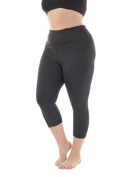 f6dcb0b3f3ae8 Zerdocean Women s Plus Size High Waist Tummy Control Yoga Capris Black 2X